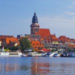 """Europa, Deutschland, Mecklenburg, Im Hafen von Waren an der Mueritz, / Europe, Germany, Mecklenburg, on the Mueritz-Havel-Waterway, Harbour of the town """"Waren"""" on  the lake """"Mueritz"""""""